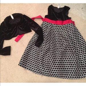 Black Velvet Shrug with Polka Dot Dress Red Bow 6